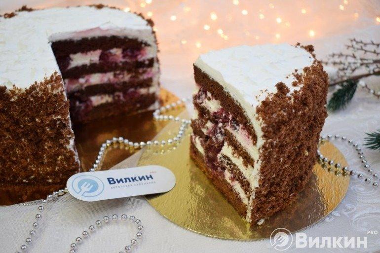 Кусочек шоколадного торта с вишней