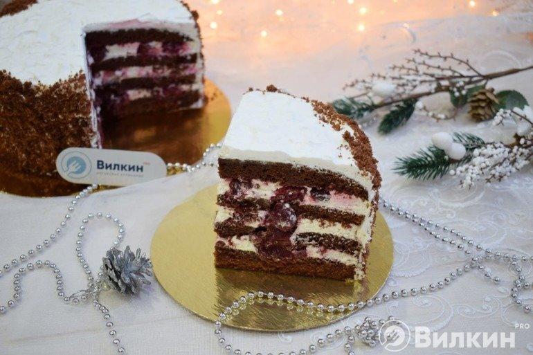 Бисквитный шоколадный торт с ягодами вишни