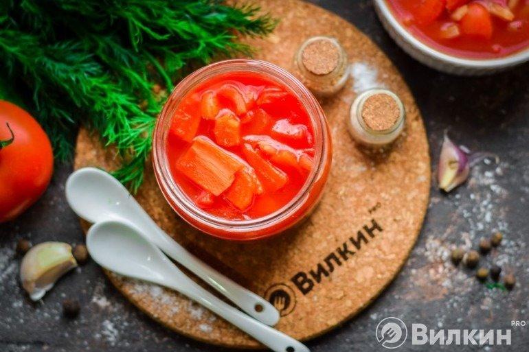 Вкусное лечо из перца с томатным соком