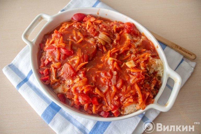 Заливка овощным соусом