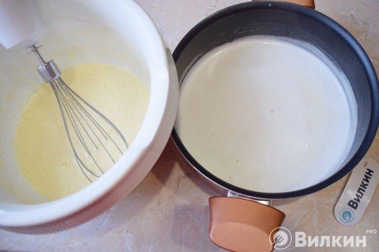 Заливка кипящего молока