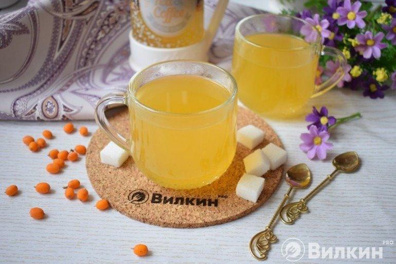 Полезный чай с облепихой и имбирем