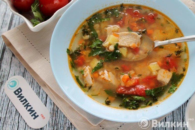 Тарелка супа с перловкой и свининой