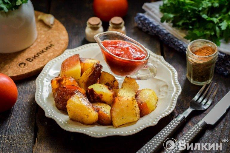 Картофель в соевом соусе, запеченный в духовке