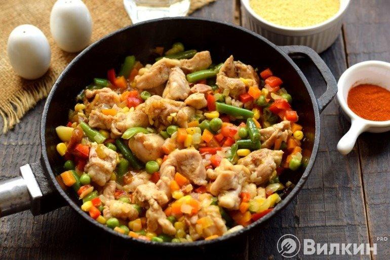 Соединение курицы и овощей