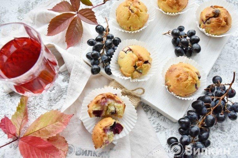 Кексы с виноградом и сыром — пикантная солоноватая закуска