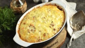 Запеканка из картофеля с фаршем и сыром в духовке