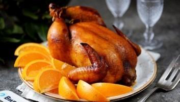 Курица с апельсинами в медово-имбирном маринаде в духовке