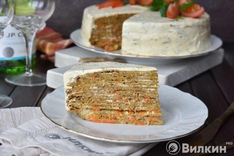 Печеночный торт с творожным кремом