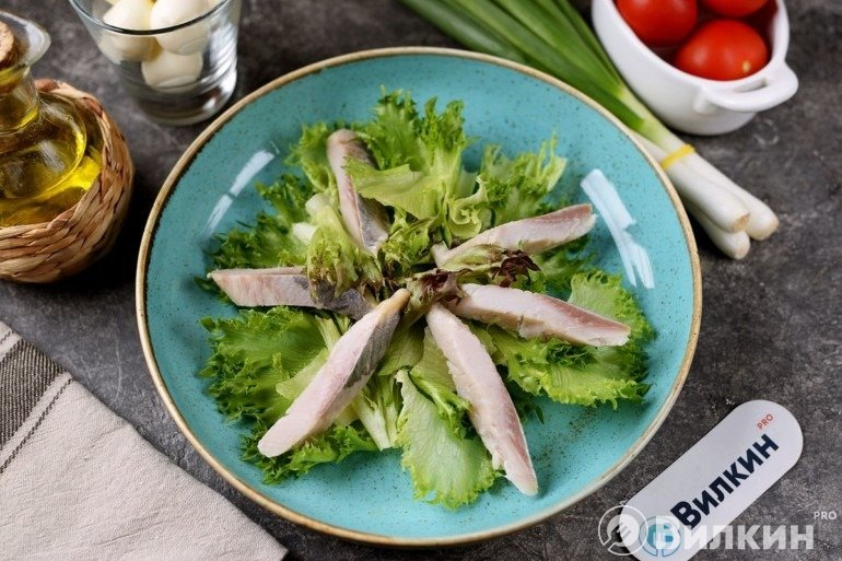 Салатные листья и рыбка