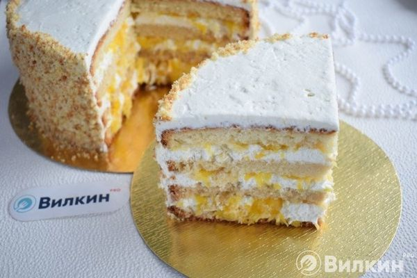 Апельсиновый торт из бисквитных коржей