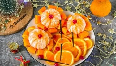 Цветы из мандаринов